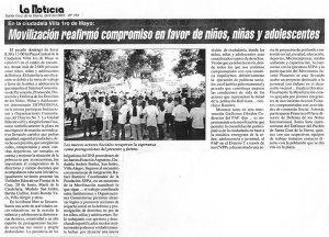 Movilización reafirmó compromiso en favor de niños, niñas y adolescentes (La Noticia. Abril 2001)