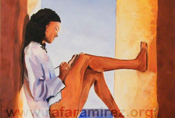 Mujer en la ventana. Pintura al óleo
