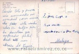 Paseo del Prado. Madrid - Postal (1964) Back