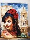 Muchacha con flor en el pelo. Pintura al óleo sobre lienzo. 2010