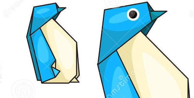 Pingüino origami de papel. Papiroflexia
