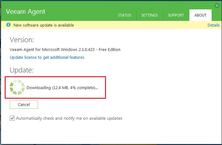 Actualizar Veeam Agent 2 1 for Microsoft Windows a la version 2 2
