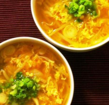低糖質 もやしとキムチとタマゴのおかずスープ