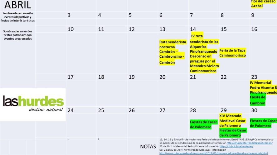 Calendario Abril 2017 Hurdes