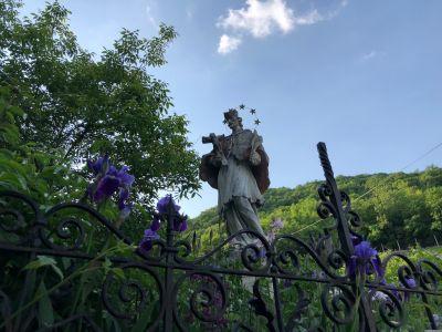 Denkmal Heiliger Johannes von Nepomuk mit violetten Blumen davor.