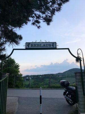 """Ausgang des Heurigen Sirbu. Über dem Eingang ein Schlld mit """"Reblaus"""" beschriftet. Beim Eingang steht ein Moped."""