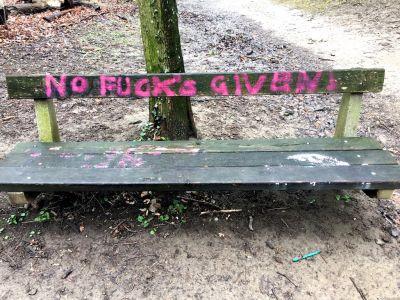 """Nachricht """"No Fucks Given"""" auf einer Parkbank"""