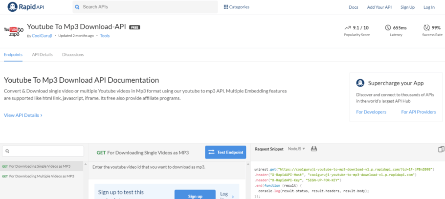 Youtube To Mp3 Download API Documentation