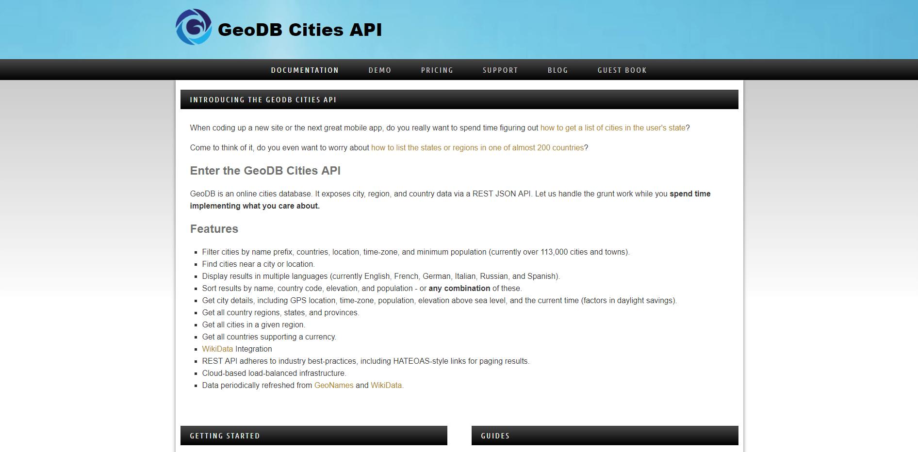 geoDB cities API on RapidAPI