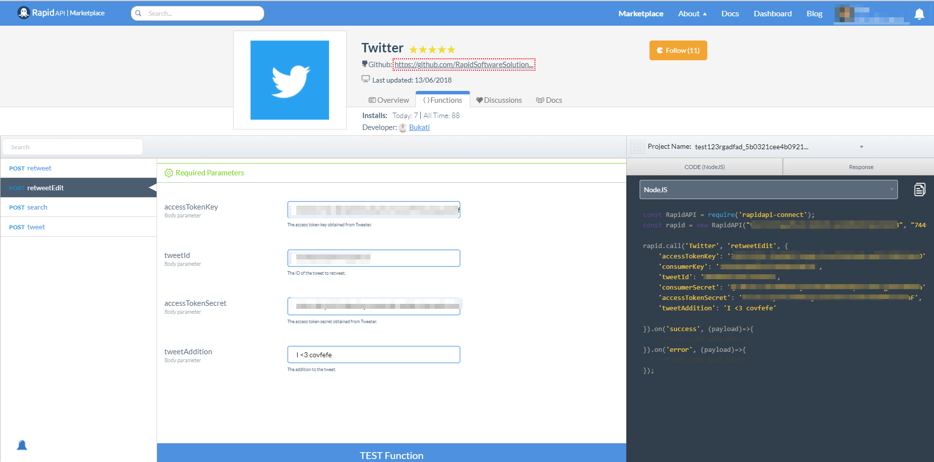 Twitter API retweet edit