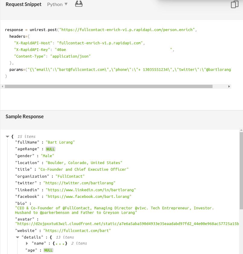 FullContact Person API Response