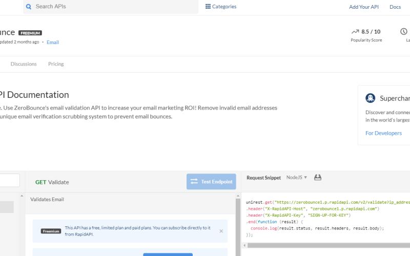 Zero Bounce API on RapidAPI.com