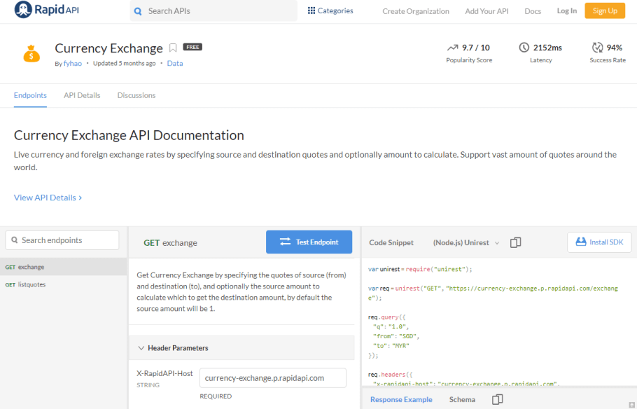Currency Exchange API Documentation