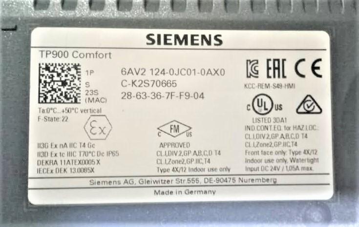 Siemens TP900 comfort panel
