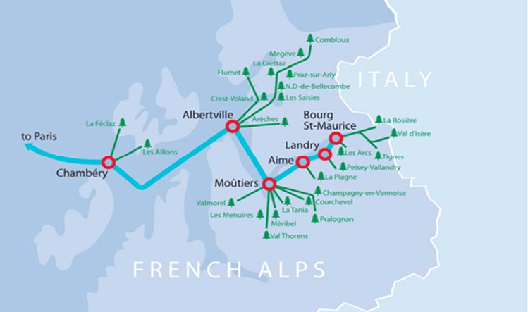 Map of the eurostar train stops throughout the french alps. Blue map with red circles to indicate stops and green lines directing to the ski resorts.