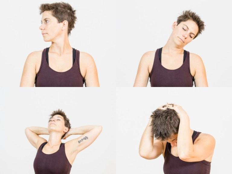 Yoga für einen entspannten Nacken: Einatmend drehst Du Dein Kopf nach links auf, ausatmend zur Mitte. Einatmend nach rechts. Dann beugst Du Deinen Nacken so, dass Dein rechtes Ohr zur rechten Schulter sinkt. Atme hier und spüre die leichte Dehnung. Wechsel dann die Seite. Anschließend verschränkst Du die Arme hinter Deinem Kopf. Einatmend öffnest Du Dein Herz und Deine Arme, ausatmend machst Du den Nacken ganz rund. Wiederhole diese Übungen so oft, bis sich Dein Nacken schön entspannt anfühlt.