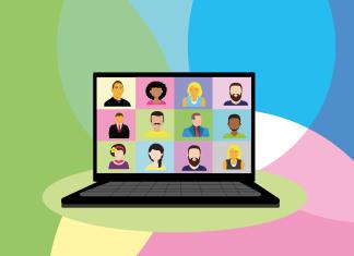 Laptop Bildschirm mit Gesichtern drauf