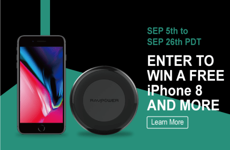 RP-PC034 RAVPower Wireless Charging Pad iPhone 8 iPhone X wireless charger giveaway