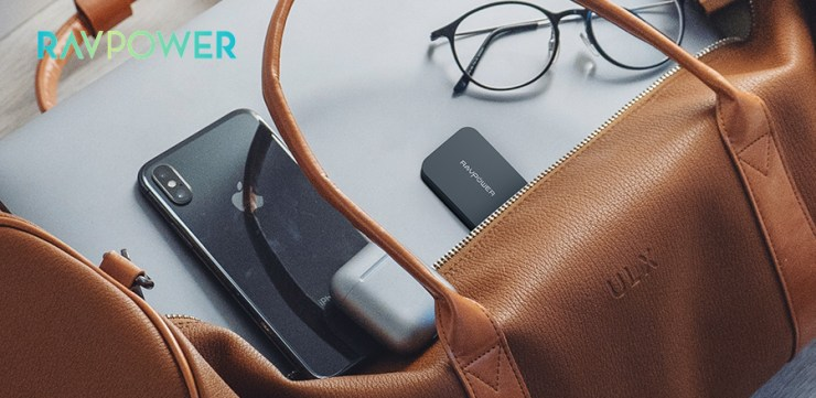 RAVPower charger inside brown leather bag