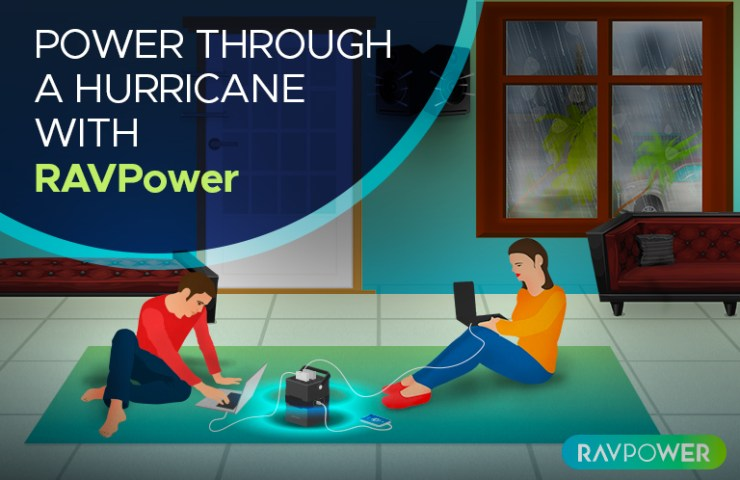 Couple inside with their RAVPower Power House during a hurricane