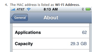 How to obtain the MAC address on iPad devices