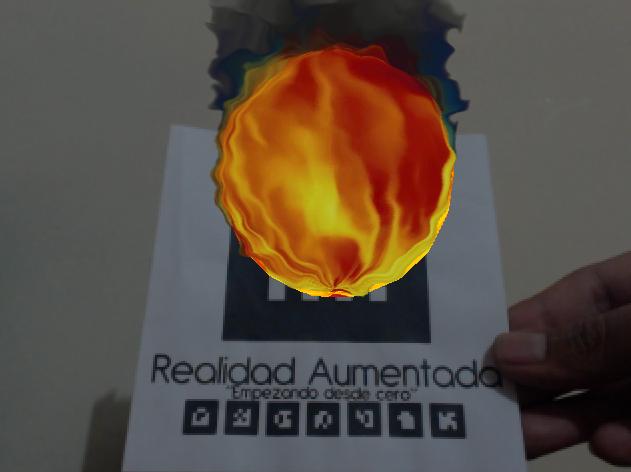 Efecto de fuego en realidad aumentada