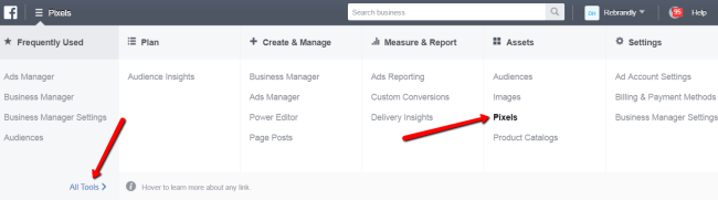 Facebook Business Manager All Tools Pixels