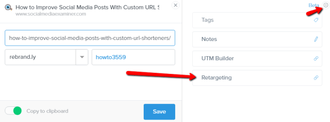 Hit the Retargeting Button After Adding a New Link