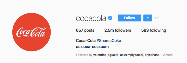 perfect instagram bio coca cola example