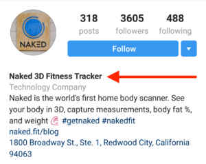 perfect instagram bio example with keywords in name