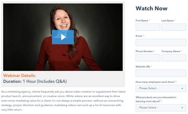 video marketing lead capture form example
