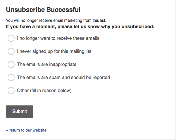 email deliverability opt out feedback form example