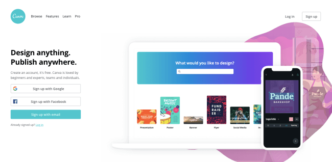 Canva homepage