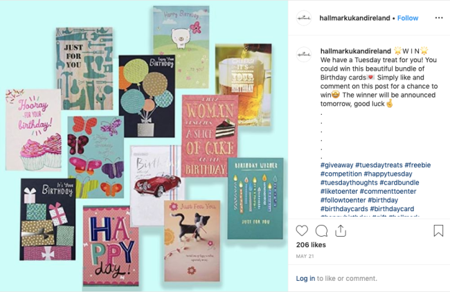 Hallmark Ireland and UK - Instagram contest