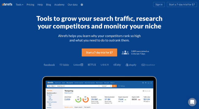 Ahrefs - best content marketing tools