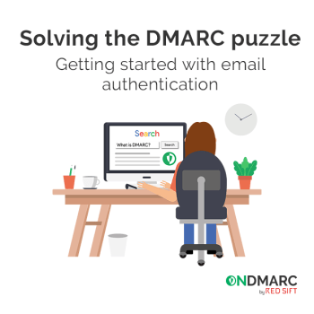 Woman at computer searching for DMARC