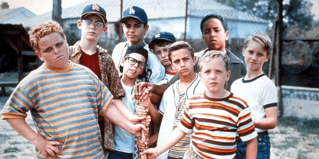 The cast of The Sandlot (1993) including Patrick Renna, Chauncey Leopardi, Mike Vitar and Tomy Guiry.