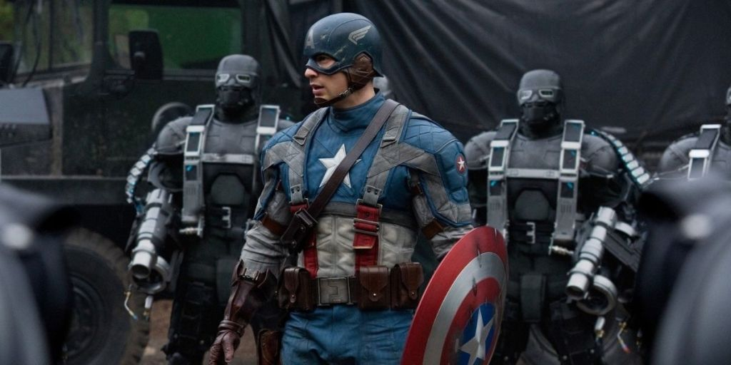 Chris Evans as Steve Rogers (Captain America) in Captain America: The First Avenger