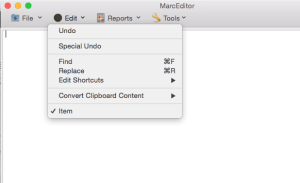 MarcEdit Mac MarcEditor Edit Menu wireframe -- options targeted for the first release