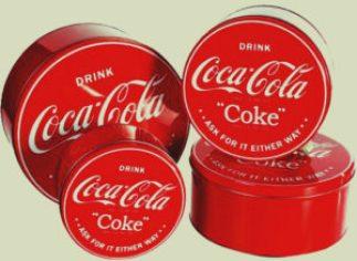 Caja de metal clásica de Coca Cola