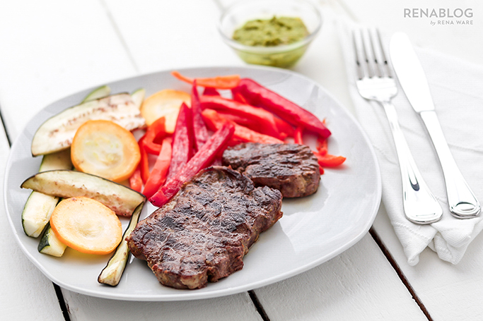 Carne asada con verduras al grill