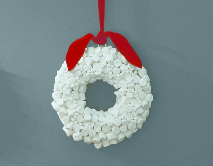 Holiday wreath made of marshmallows