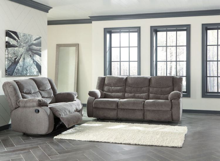 "Signature Design by Ashley ""Tulen-Gray"" Reclining Sofa and Loveseat"