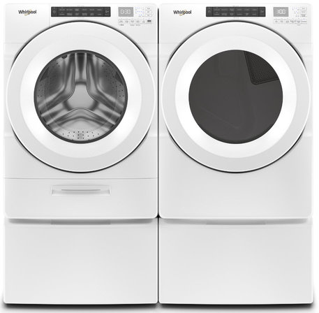 White Whirlpool Front Load Washer and Dryer Set, Available in Gas or Electric