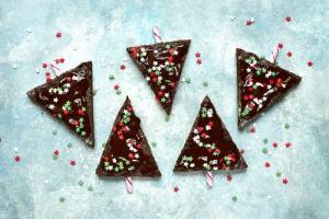 Christmas tree-shaped brownies