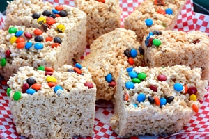 Rice cereal treats with chocolate candies