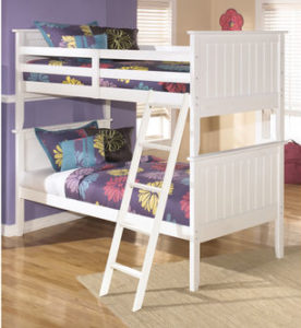 White Ashley Leo Twin Over Twin Bunk Bed