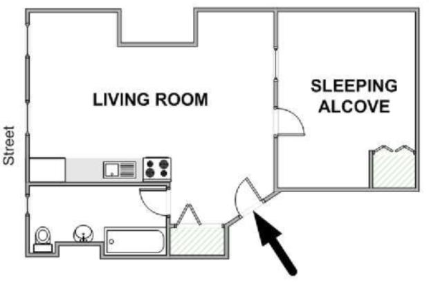 New York Alcove Studio apartment layout