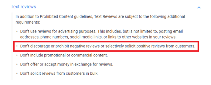 Google Updated online Review Policy