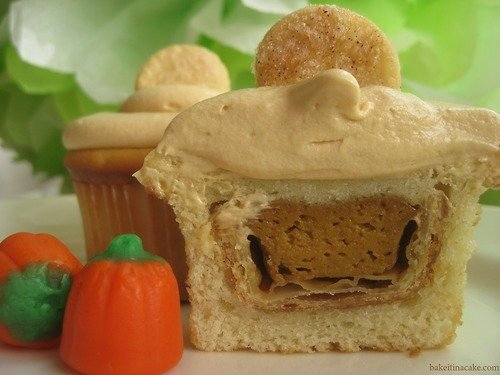 That's right, that's a pumpkin pie stuffed inside a cupcake